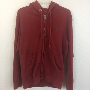 American Eagle red waffle zip up hoodie-L